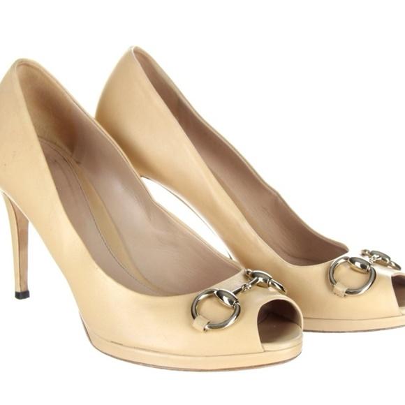 48dfd30bd79 Gucci Shoes - GUCCI Rose Leather Horsebit Gisele Peep Toe Pumps